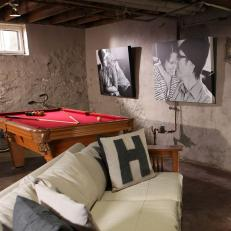 Industrial Basement Hangout With Pool Table