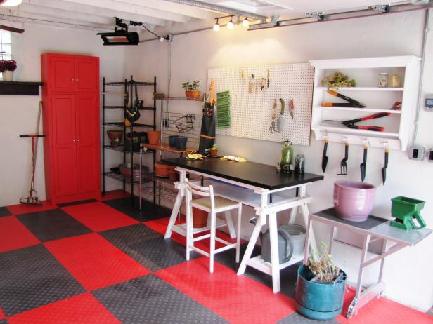 A Black and Red Garage, Workshop and Potting Shed All-in-One