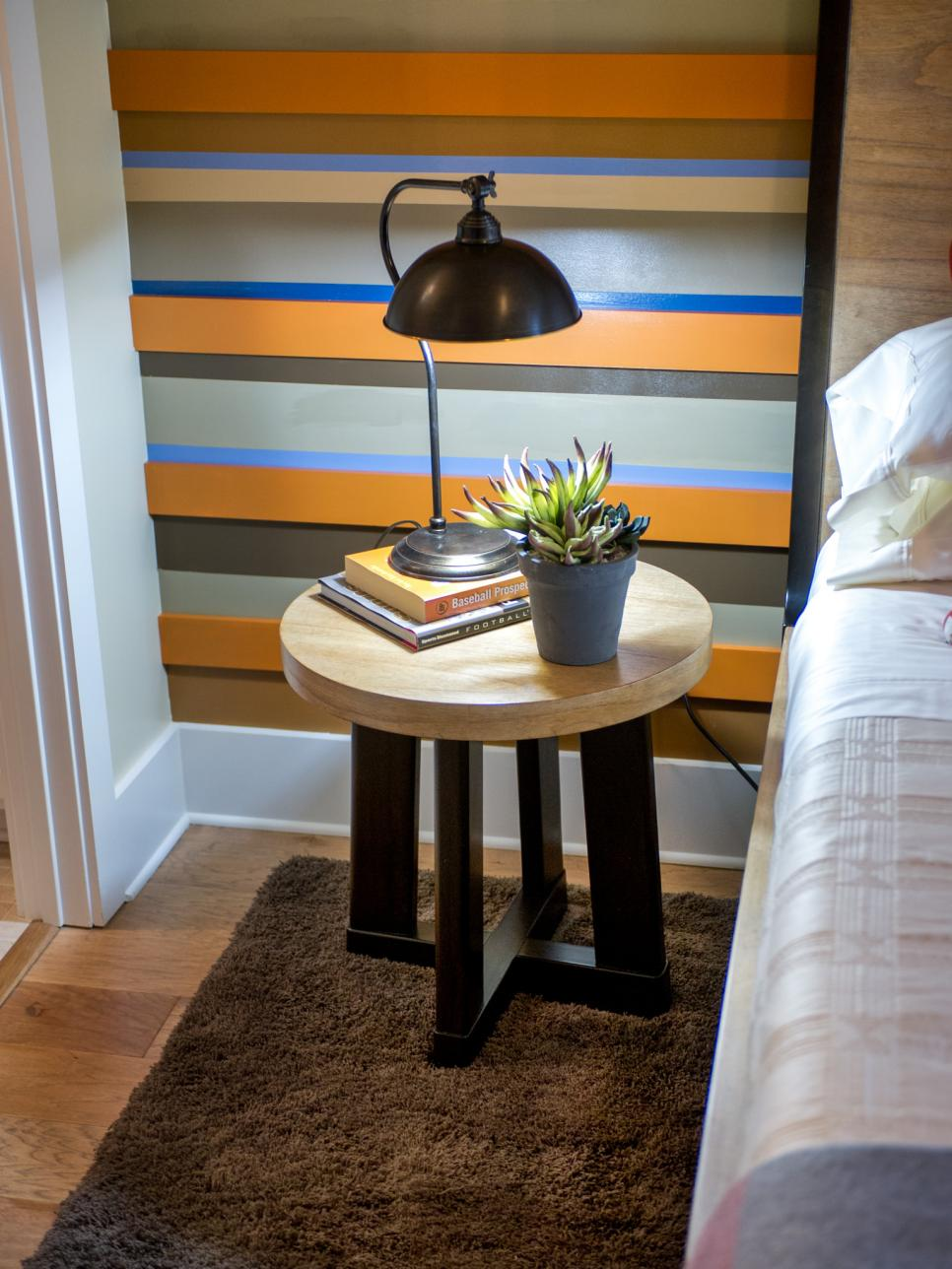 Contemporary Nightstand and Striped Accent Wall