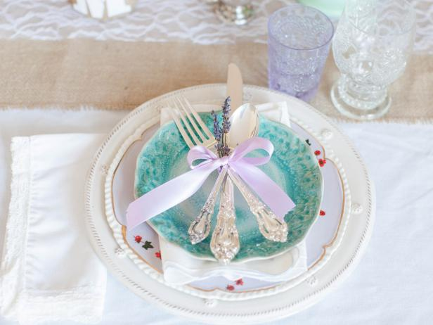 Vintage Table Setting With Lavender Sprigs