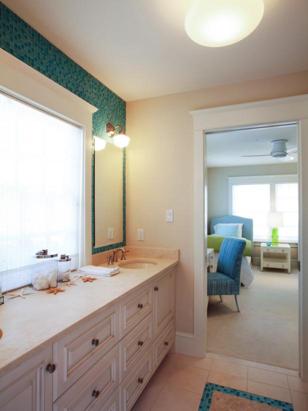 Transitional Jack-and-Jill Bathroom With Blue and Green Mosaic Tile Wall