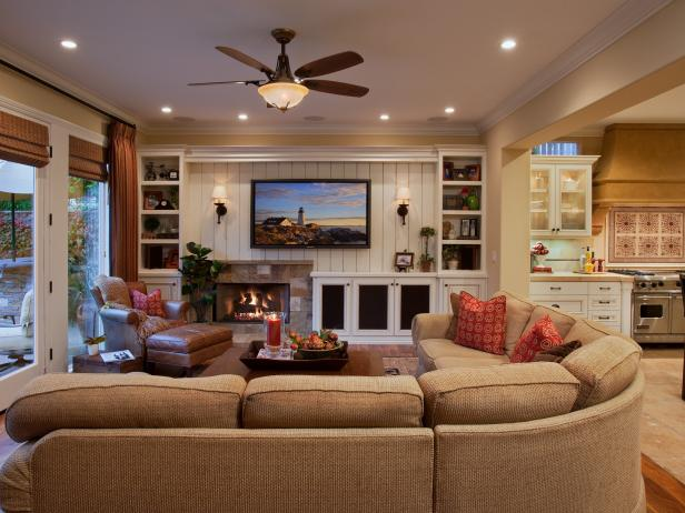 Living room with custom built ins and beadboard wall hgtv - Family room wall ideas ...