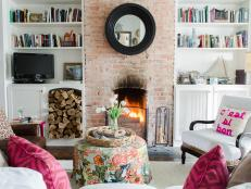 Pink Eclectic Living Room With Fireplace