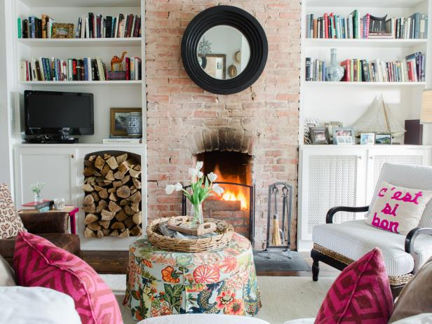 Eclectic Living Room With Pink Accents
