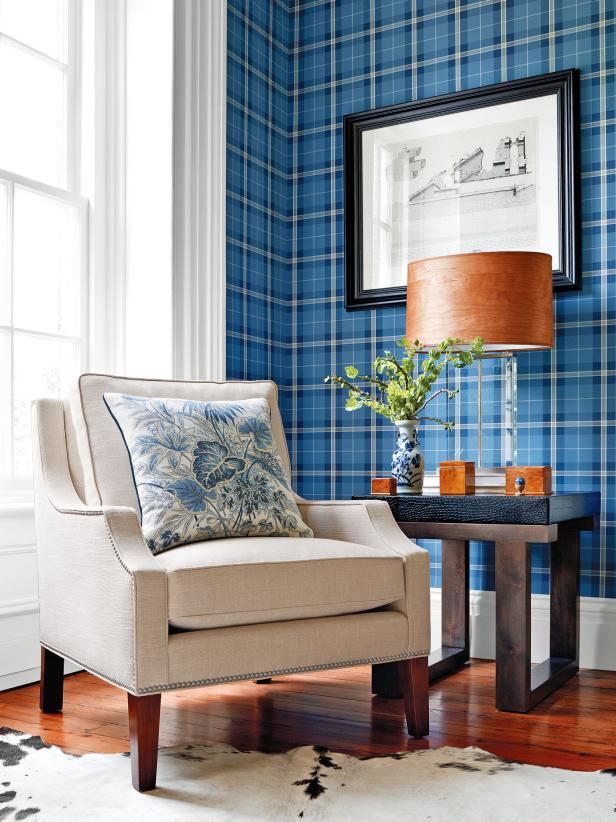 Blue Plaid Wallpaper in a Traditional Room