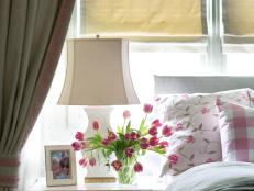 Cottage Bedroom Detail With Pink Tulips