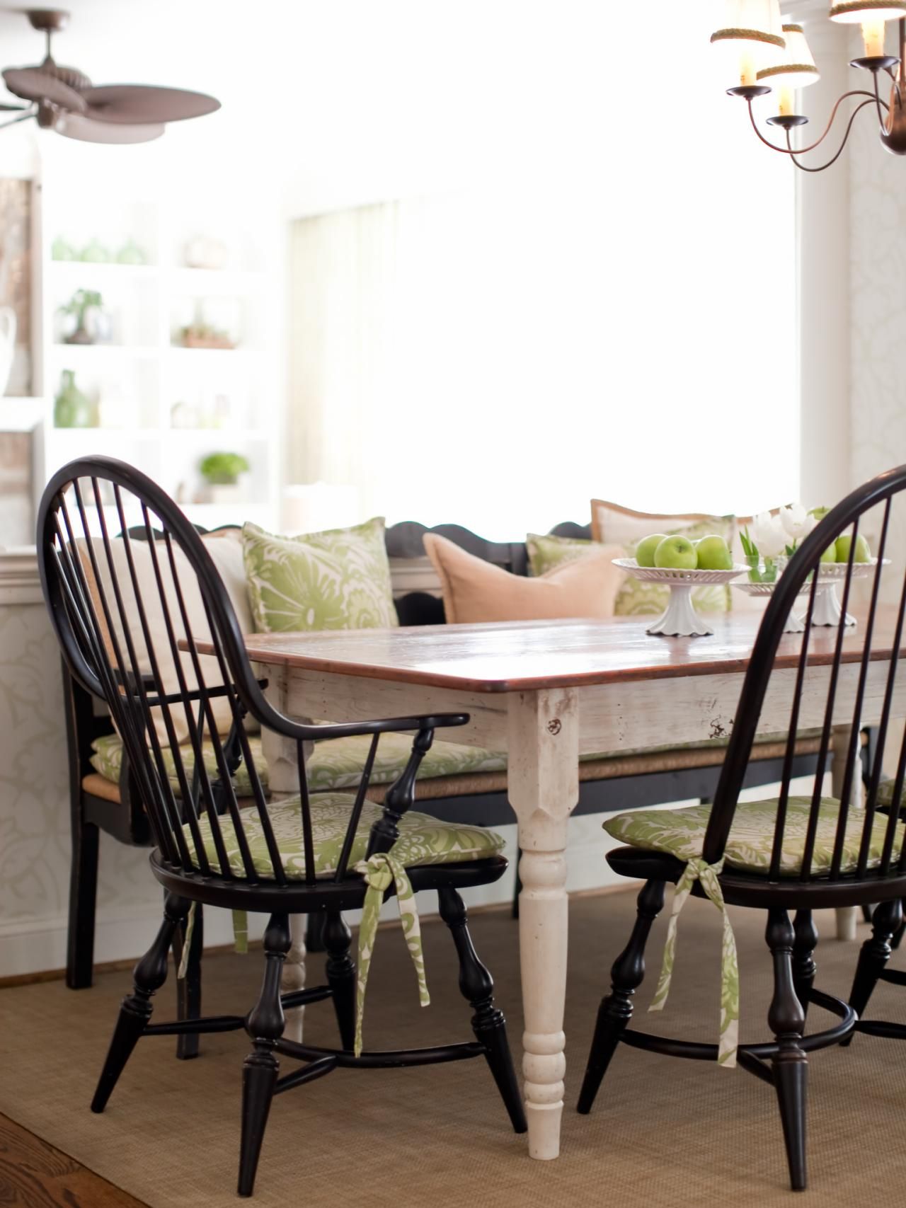 Black Windsor Chairs Around Country Dining Table Hgtv