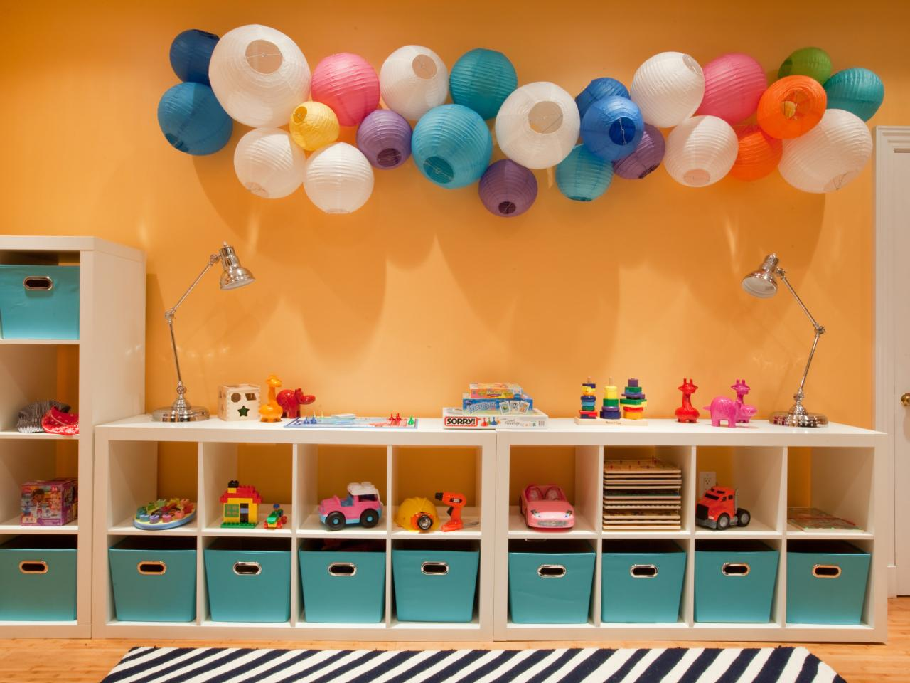 Wall Cubby Storage In Playroom With Paper Lanterns