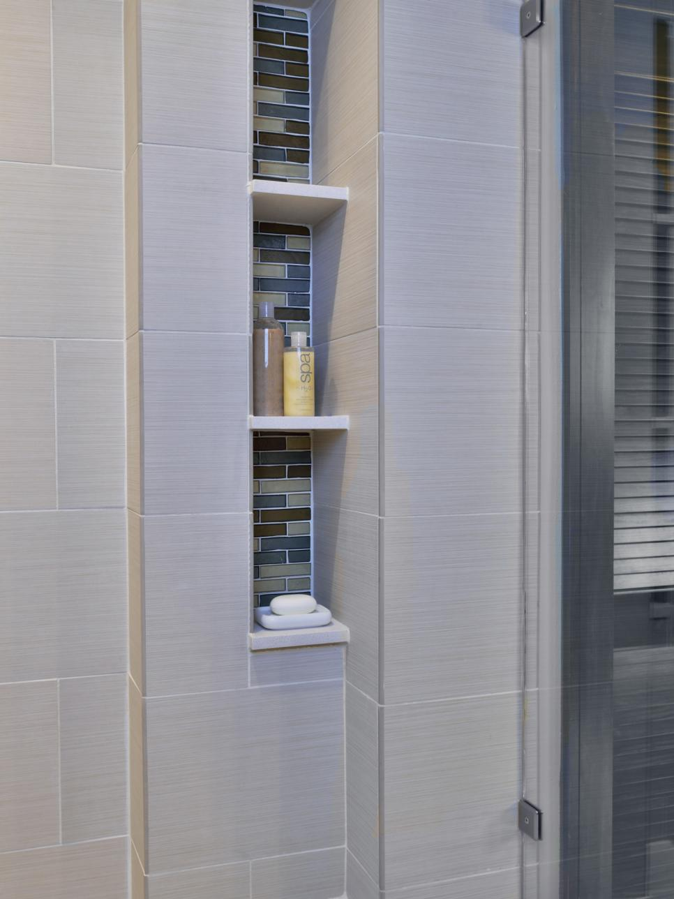 Modern Neutral Bathroom Shower Storage