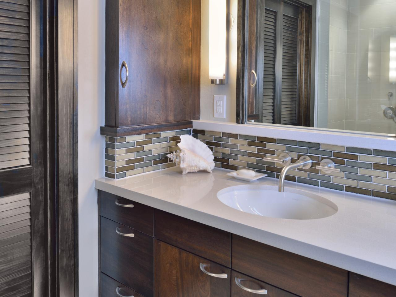 Mosaic Tile Backsplash Adds Beauty and Texture to Modern Bathroom HGTV