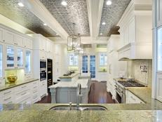 Cottage Kitchen Features Tin Ceiling