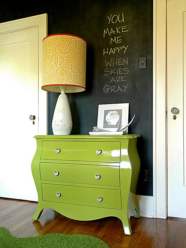 Apple Green Bombe Chest Against Chalkboard Wall