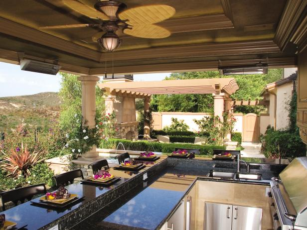 Mediterranean Outdoor Kitchen & Patio With Pergola