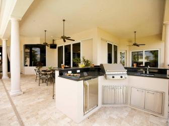 Luxury Outdoor Kitchen With Grill and Columns