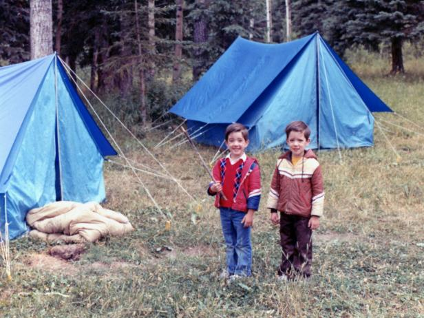Jonathan and Drew Camping as Kids