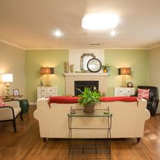 Traditional Cream Living Room With Green Accent Wall