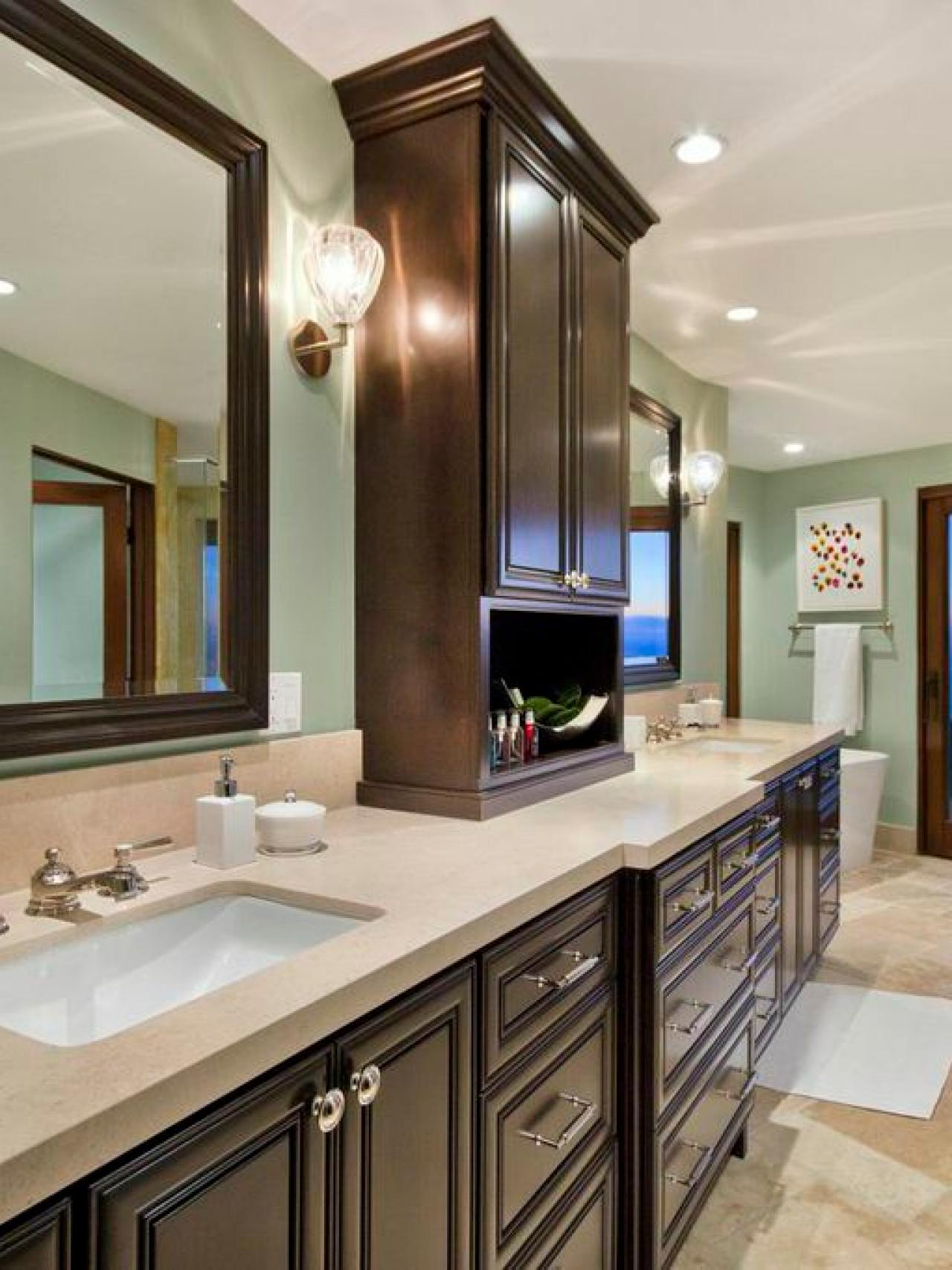 bathroom with dark cabinets pale blue traditional master bathroom with cabinets 17193