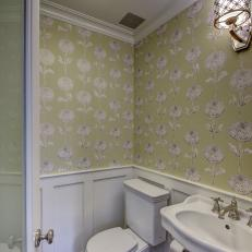 Cottage Guest Bath With Floral Wallpaper