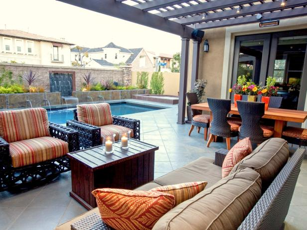 Outdoor Space With Pool and Seating