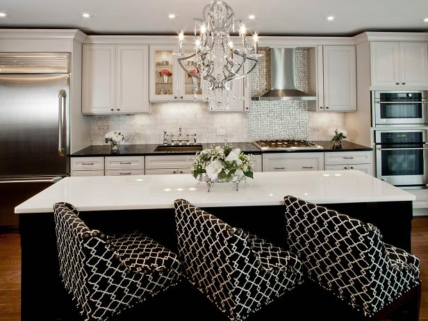 White And Black Transitional Kitchen with Upholstered Bar Chairs