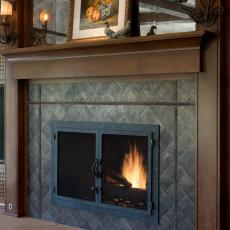 Rustic Living Room Fireplace With Wood Mantel