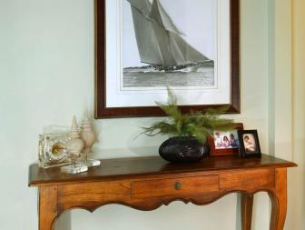 Entryway: Antique Sofa Table With Fine Art