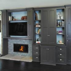 Transitional Living Room with Painted Cabinetry Surround