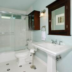 Blue Traditional Guest Bathroom With Hexagon Tile Floor