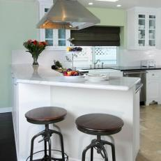Green Cottage Kitchen With Industrial Barstools