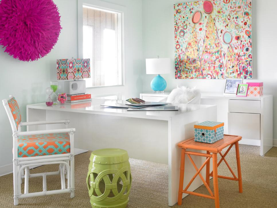 Colorful Home Office With White Desk