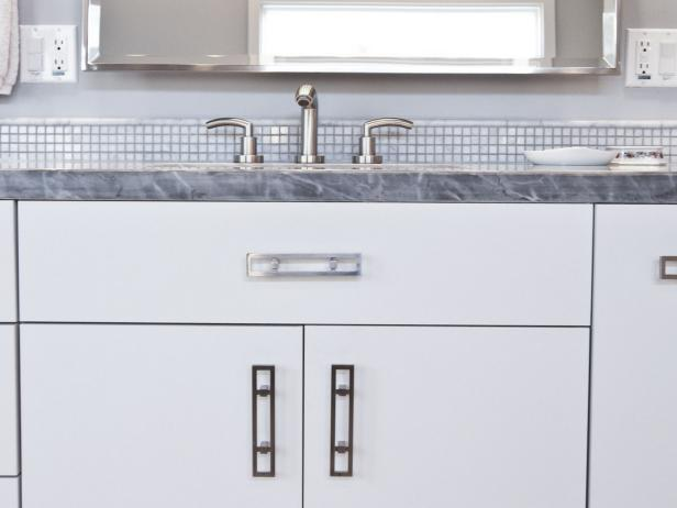 White Bathroom Cabinet With Gray Marble Countertop