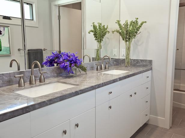 White Modern Vanity with Gray Marble Countertop