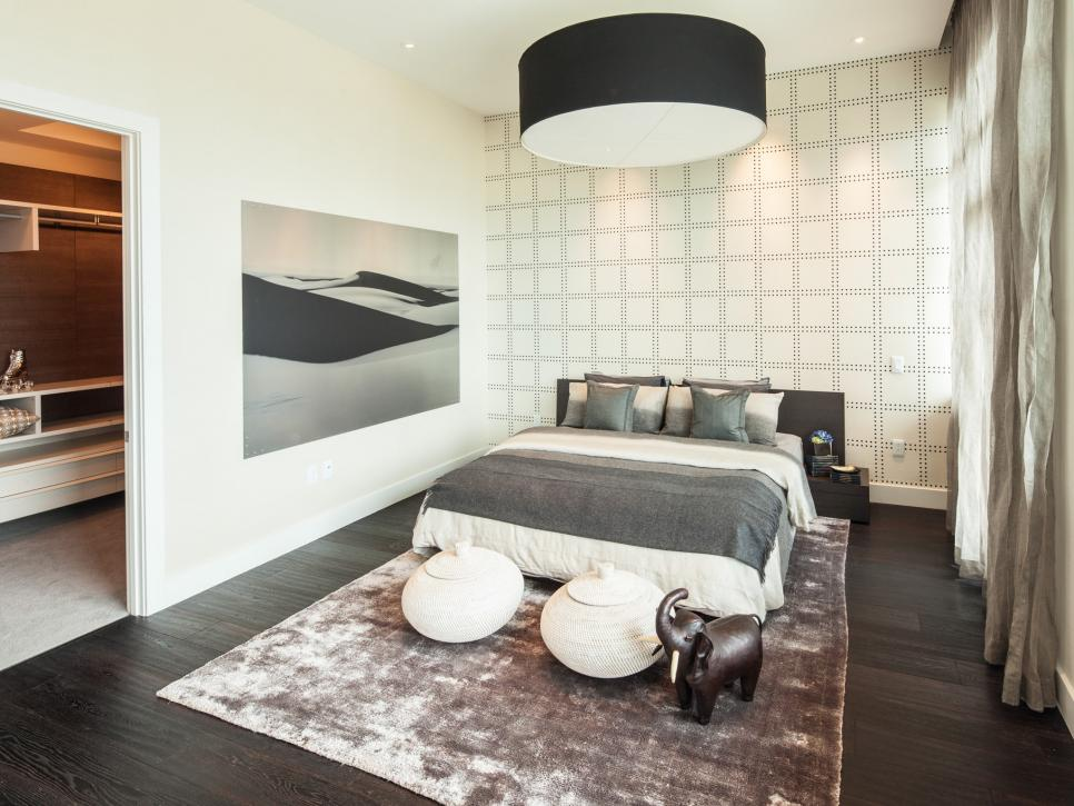 Contemporary White Master Bedroom With Soft Gray Accents