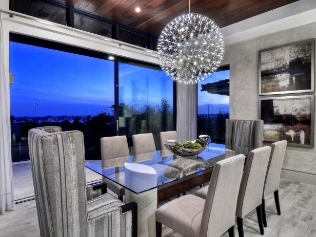 Contemporary Dining Room with LED suspension light