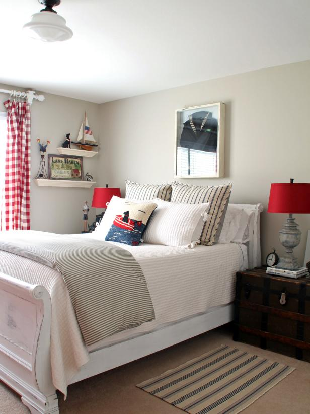 Nautical Kid's Room with red accents