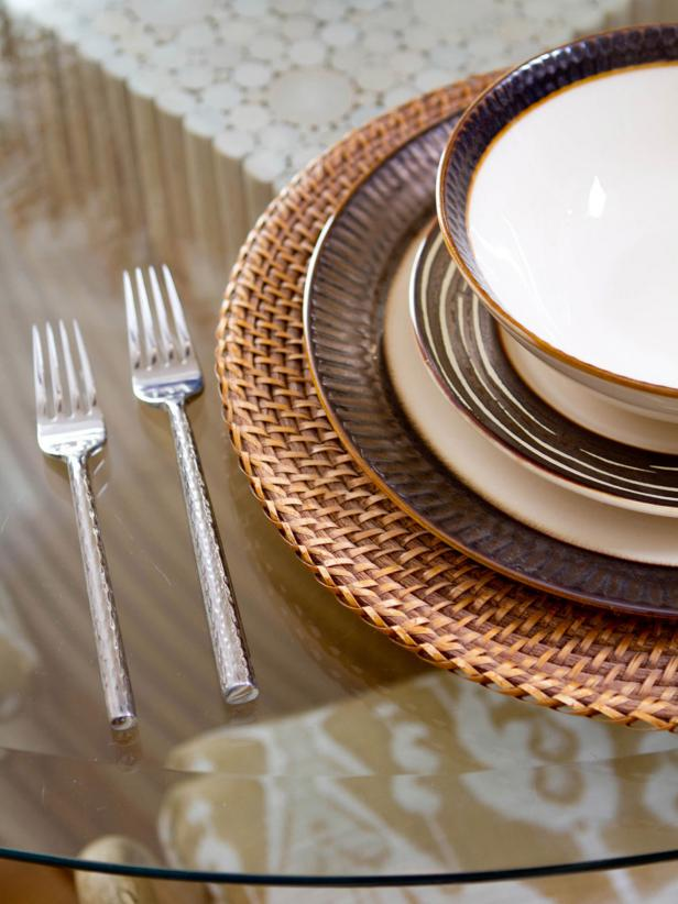 Neutral Place Setting on Glass Table