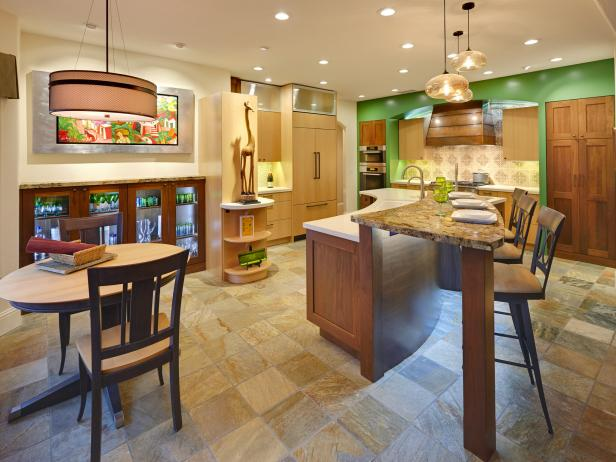 Stylish Kitchen With Green Accents