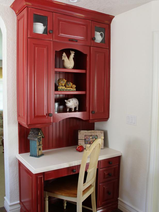 Red Desk with Cabinets