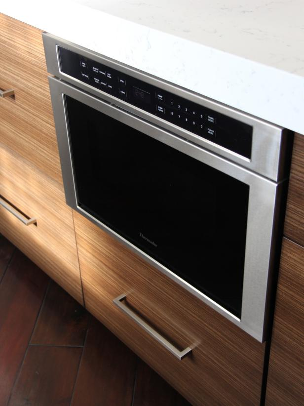 Built-in Microwave Drawer in Kitchen Island