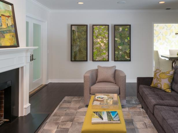 Neutral Living Room with Green Art and Yellow Coffee Table
