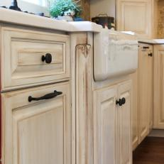 Red And White Kitchen Cabinets And Farmhouse Sink