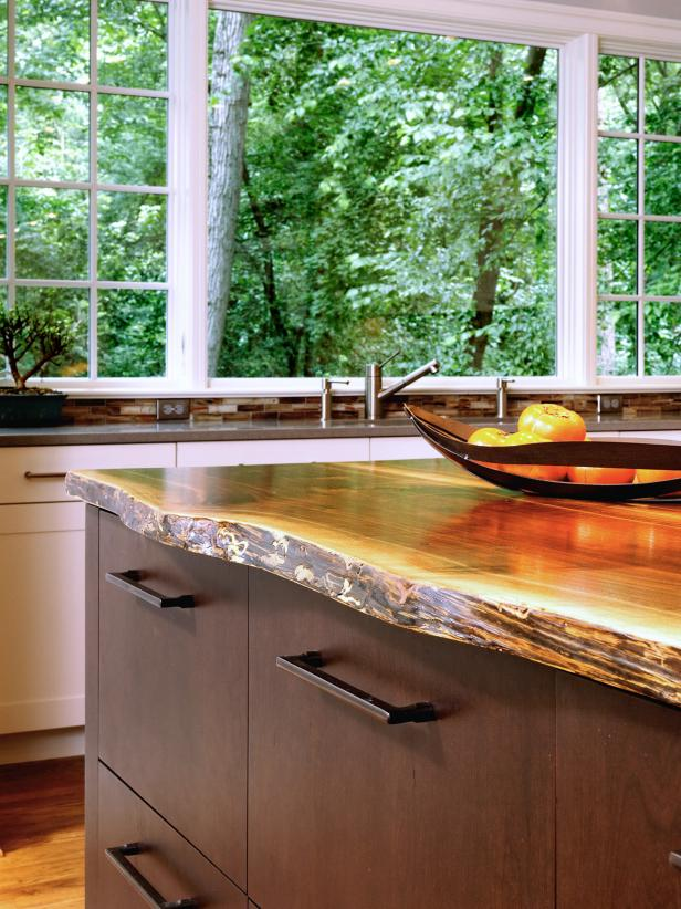 Raw Edged Wooden Countertop