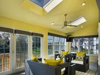 Contemporary Yellow and Gray Sunroom