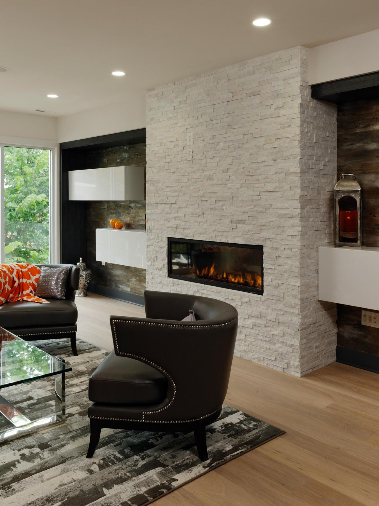 Modern living room with white brick fireplace hgtv - How to make a brick fireplace look modern ...