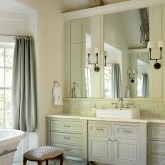Luxurious, Traditional Bathroom With Herringbone Tile Floor