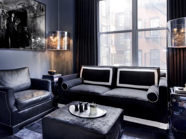 Black And Gray Contemporary Apartment Living Room Hgtv