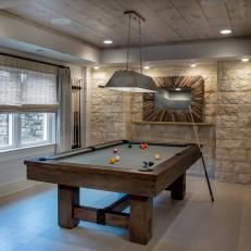 Lighting, Texture Give Life to Chic Game Room