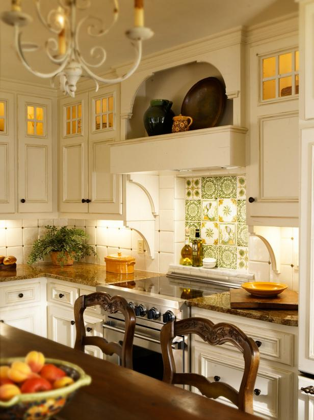 White French Country Kitchen with Handpainted Tile Backsplash