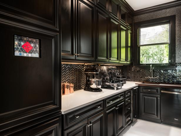 Contemporary Black Kitchen With Chevron Backsplash