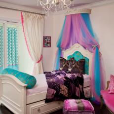Eclectic Girls Room With Pink and Blue Tulle Above the Bed